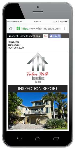 Smartphone showing a Taylor Hill online home inspection report